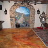 acid stain floors and interior stone arch