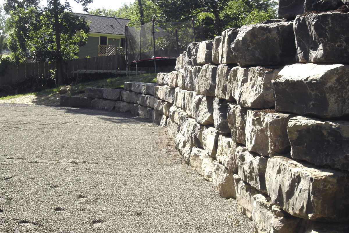 select rip rap stone wall